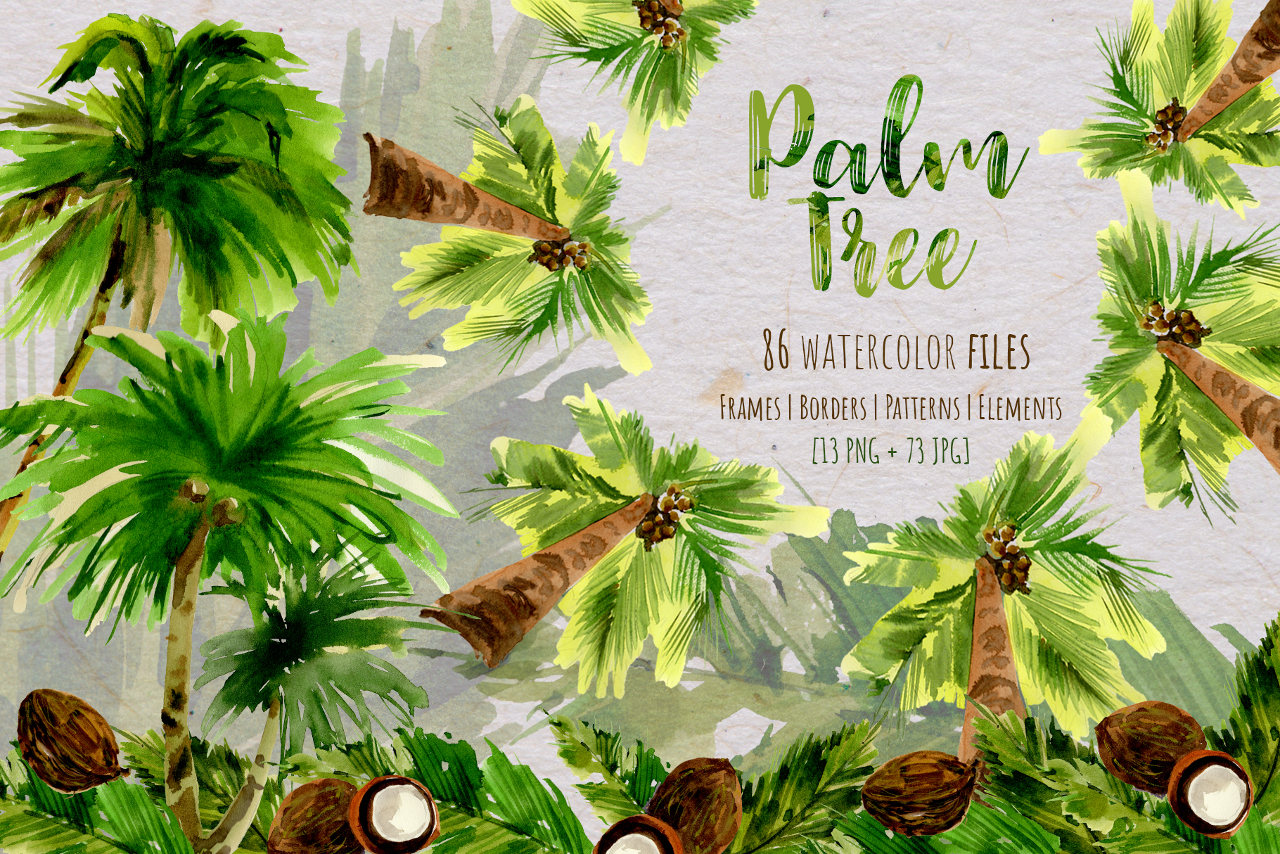 Download Free Palm Tree Watercolor Set Graphic By Mystocks Creative Fabrica for Cricut Explore, Silhouette and other cutting machines.