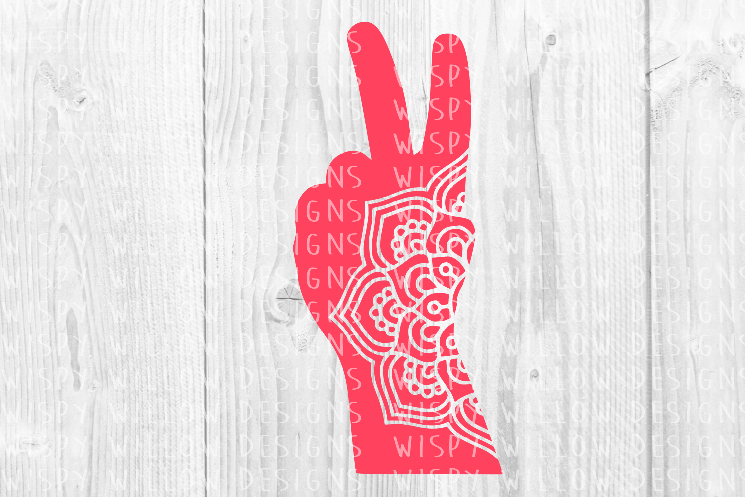 Peace Sign Fingers Mandala Graphic By Wispywillowdesigns