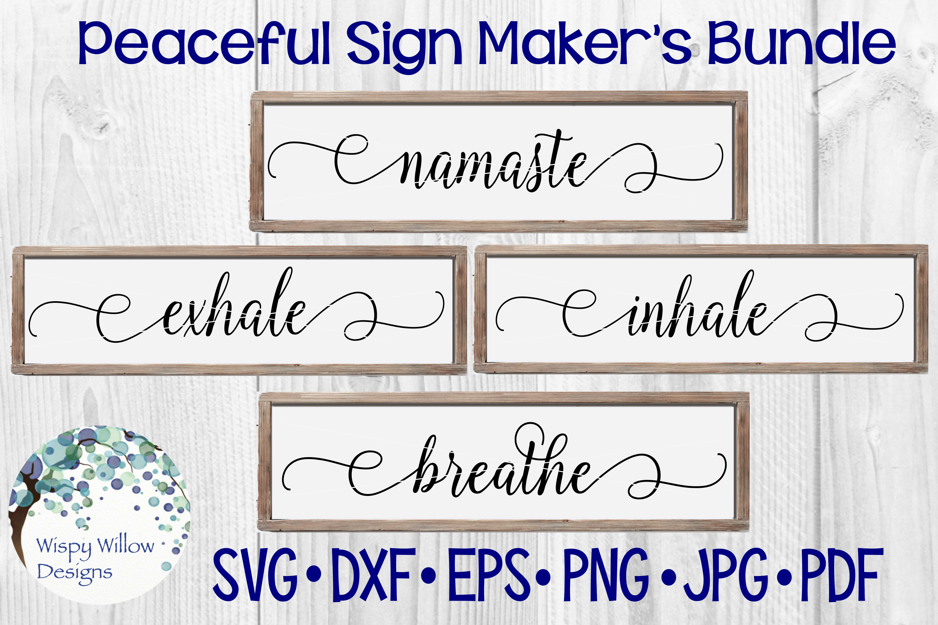 Download Free Peaceful Sign Maker S Bundle Graphic By Wispywillowdesigns for Cricut Explore, Silhouette and other cutting machines.