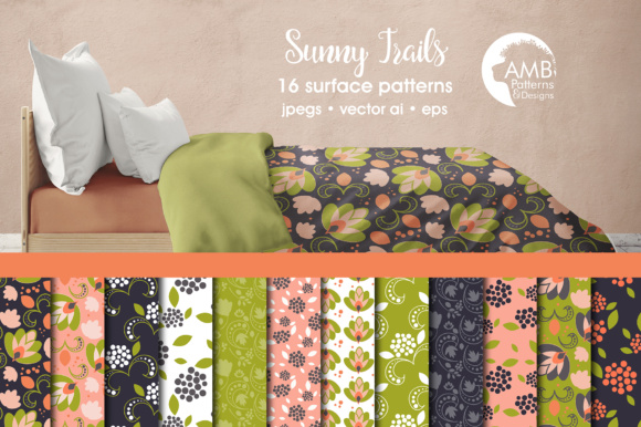 Peach Floral Papers Graphic Patterns By AMBillustrations