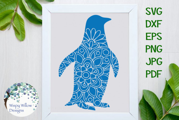 Penguin Floral Mandala Graphic Crafts By WispyWillowDesigns