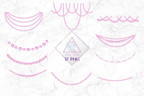 Print on Demand: Pink Diamond Strands Clipart Graphic Illustrations By fantasycliparts