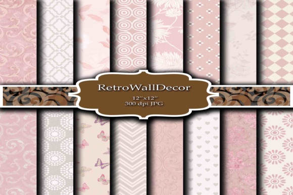 Print on Demand: Pink Digital Paper Graphic Backgrounds By retrowalldecor