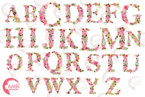 Pink Floral Letters Graphic Illustrations By AMBillustrations - Image 4