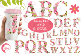 Download Free Pink Floral Letters Grafico Por Ambillustrations Creative Fabrica for Cricut Explore, Silhouette and other cutting machines.