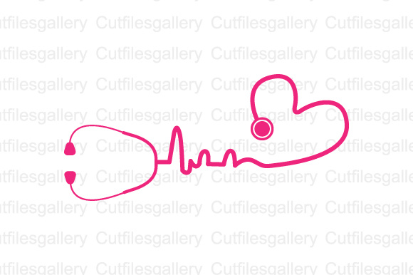 Download Free Pink Heart Stethoscope Graphic By Cutfilesgallery Creative Fabrica for Cricut Explore, Silhouette and other cutting machines.