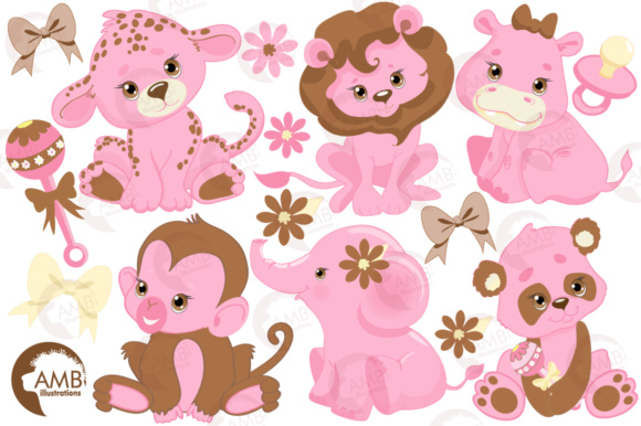 Pink Safari Baby Clipart (Graphic) by AMBillustrations ...