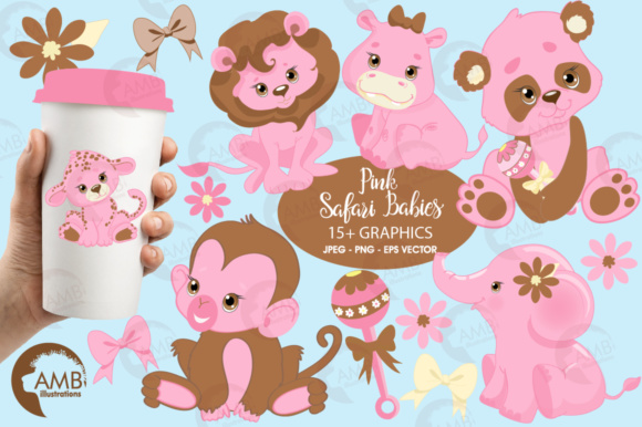 Pink Safari Baby Clipart Graphic Illustrations By AMBillustrations