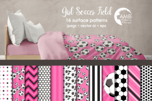 Pink Soccer Papers AMB Graphic Patterns By AMBillustrations