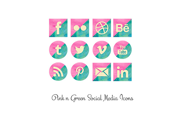 Print on Demand: Pink and Green Watercolor Social Media Icons Graphic Icons By Anjana Designs