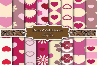 Pink Hearts Graphic By retrowalldecor