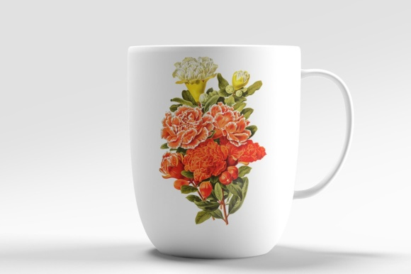 Pomegranate and Grenadier Watercolor Flowers Graphic Preview