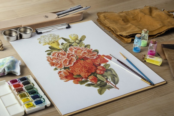 Pomegranate and Grenadier Watercolor Flowers Graphic Design Item