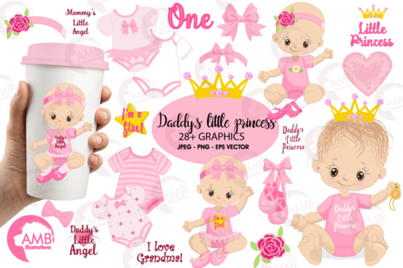 Princess Baby Clipart Graphic Illustrations By AMBillustrations