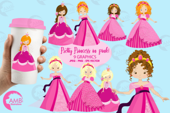 Princess Pink Clipart Graphic Illustrations By AMBillustrations