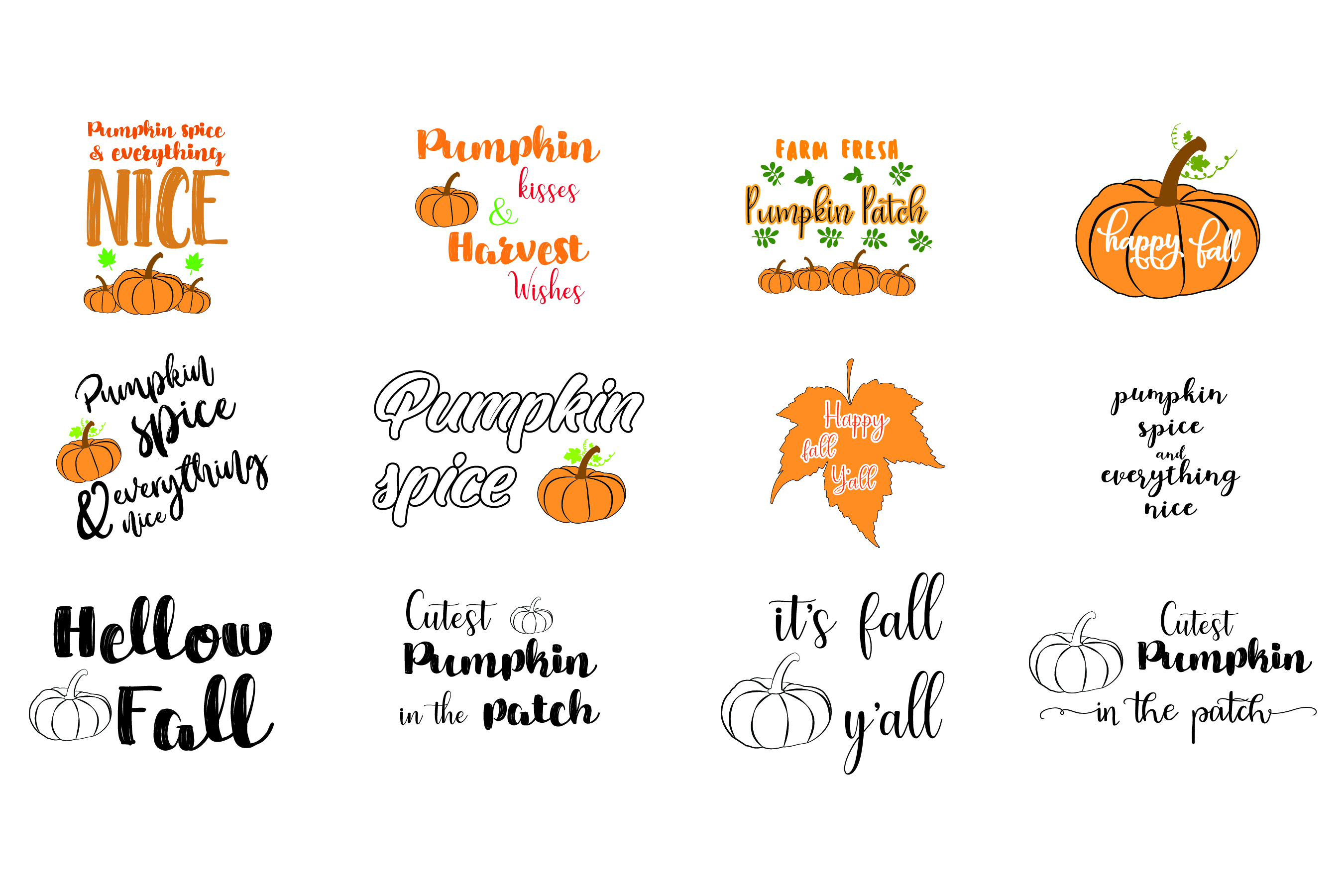 Download Free Pumpkin 12 Elements Graphic By Bluestar Creatives Creative for Cricut Explore, Silhouette and other cutting machines.