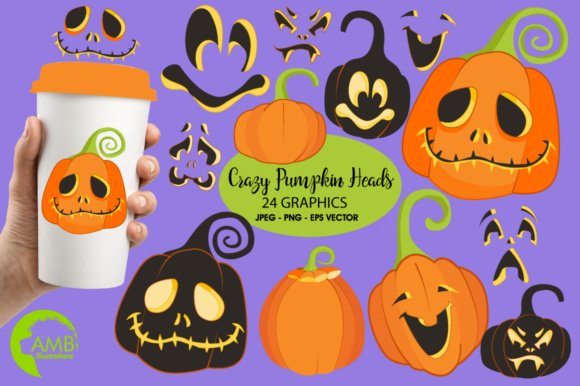 Pumpkin Faces Clipart Graphic By Ambillustrations Creative Fabrica