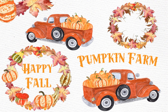 Pumpkin Truck Farm Clipart Graphic Illustrations By LeCoqDesign
