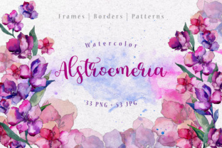 Purple Alstroemeria PNG Watercolor Set Graphic By MyStocks