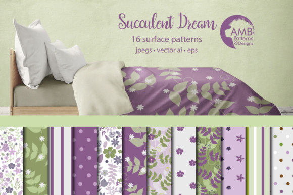 Purple Floral Papers Graphic Patterns By AMBillustrations
