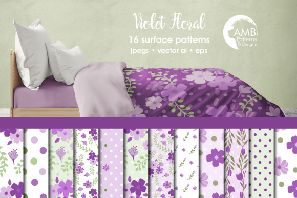 Purple Shabby Floral Papers Graphic Patterns By AMBillustrations
