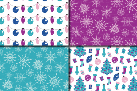Download Free Purple And Blue Christmas Digital Paper Set Graphic By Vr for Cricut Explore, Silhouette and other cutting machines.