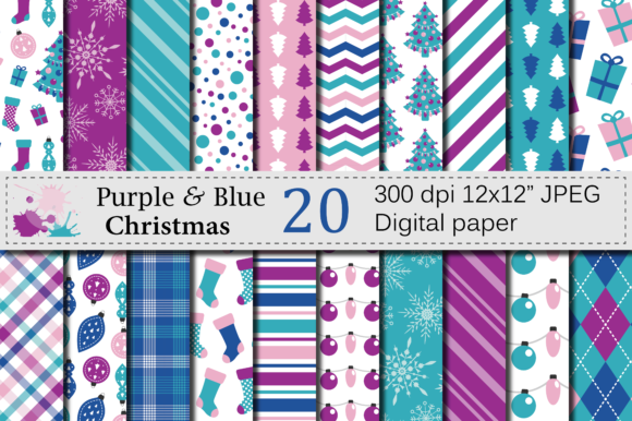 Purple and Blue Christmas Digital Paper Set Gráfico Fondos Por VR Digital Design
