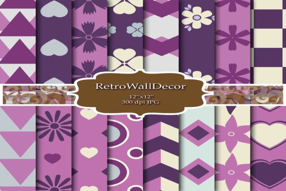 Print on Demand: Purple Hearts Graphic Backgrounds By retrowalldecor - Image 1