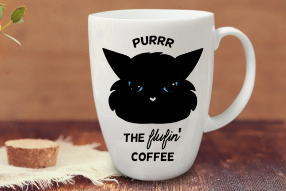 Purr the Flufin' Coffee Quote Graphic Crafts By Illustrator Guru