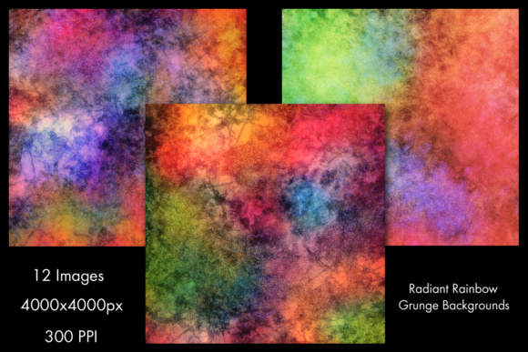 Print on Demand: Radiant Rainbow Grunge Backgrounds - 12 Image Set Graphic Backgrounds By SapphireXDesigns - Image 2