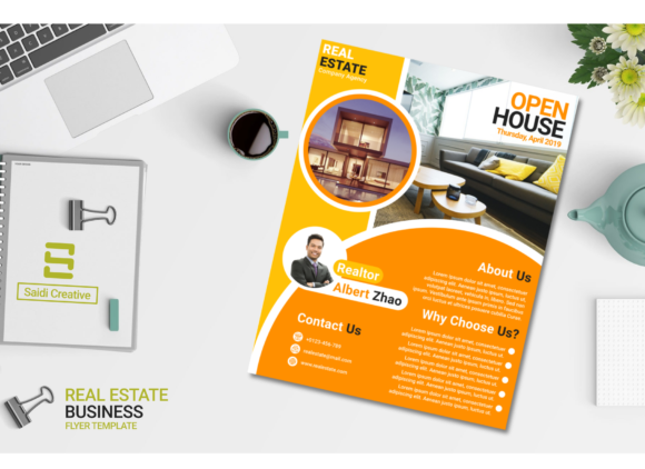 Real Estate Business Flyer Template Design Amber Circle Colour (US Flyer Size) Graphic Print Templates By Saidi Creative - Image 2