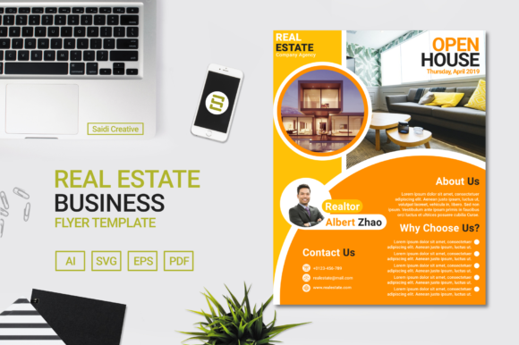 Download Free Real Estate Business Flyer Template Design Amber Circle Colour Us for Cricut Explore, Silhouette and other cutting machines.
