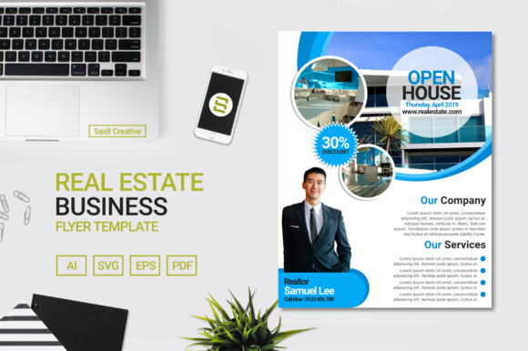 real estate business flyer template design blue circle colour us