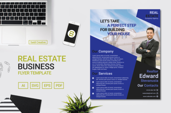 Real Estate Business Flyer Template Design with Indigo Colour (US Flyer Size) Graphic Print Templates By Saidi Creative
