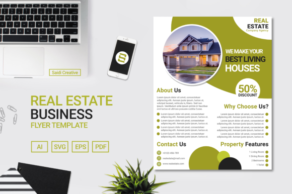 Real Estate Business Flyer Template Grafik Druck-Templates von Saidi Creative