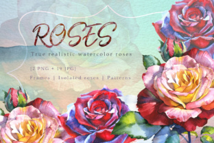 Realistic Watercolor Red Roses PNG Set Graphic By MyStocks