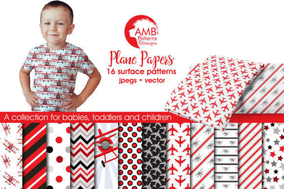 Red Airplane Papers AMB Graphic Patterns By AMBillustrations