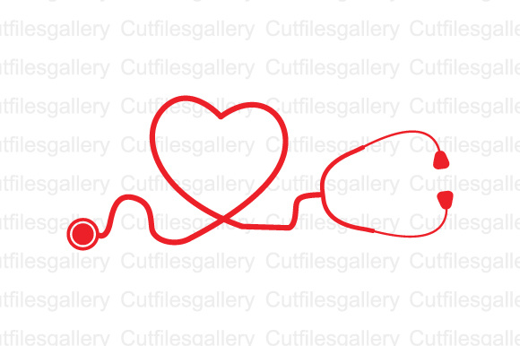 Download Free Red Heart Stethoscope Graphic By Cutfilesgallery Creative Fabrica for Cricut Explore, Silhouette and other cutting machines.