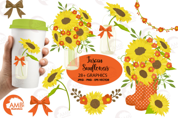 Red Sunflowers Clipart Graphic Illustrations By AMBillustrations