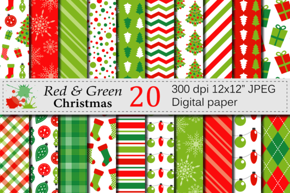 Red and Green Christmas Digital Paper Set Graphic Backgrounds By VR Digital Design