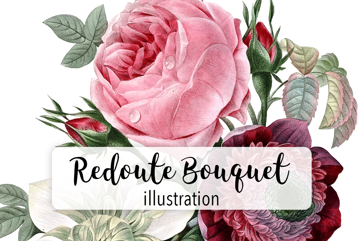 Redoute Watercolor Flower Bouquet Graphic By Enliven Designs