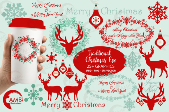 Reindeer Embell Clipart Graphic Illustrations By AMBillustrations