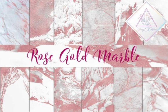 Print on Demand: Rose Gold Marble Digital Paper Graphic Backgrounds By fantasycliparts