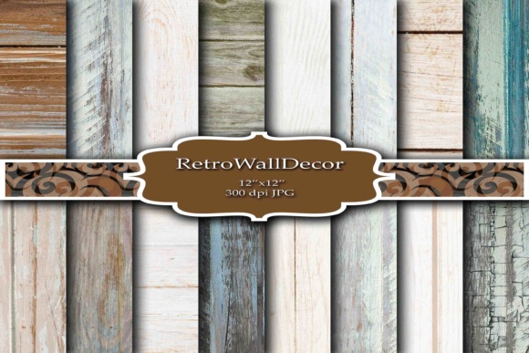 Print on Demand: Rustic Wood Digital Paper Graphic Backgrounds By retrowalldecor