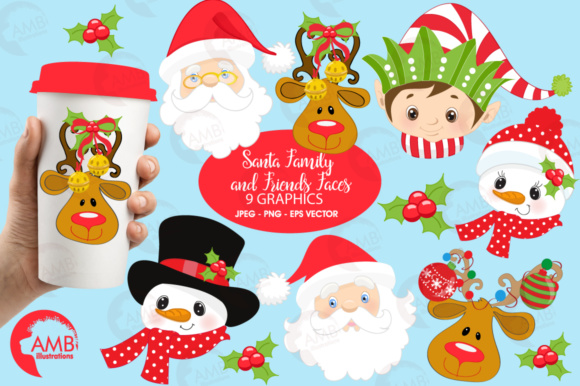 Download Free Santa Faces Clipart Graphic By Ambillustrations Creative Fabrica for Cricut Explore, Silhouette and other cutting machines.