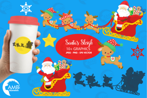 Download Free Santa Sleigh Clipart Graphic By Ambillustrations Creative Fabrica for Cricut Explore, Silhouette and other cutting machines.