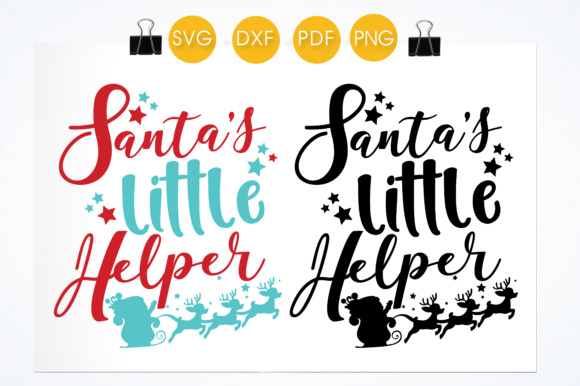 Download Free Santa S Little Helper Quote Graphic By Prettycuttables for Cricut Explore, Silhouette and other cutting machines.