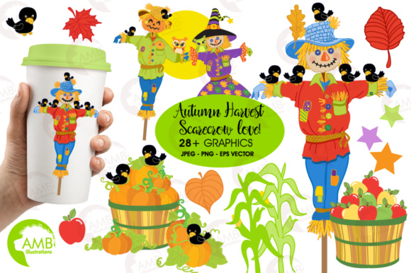 Scarecrow Clipart Graphic Illustrations By AMBillustrations