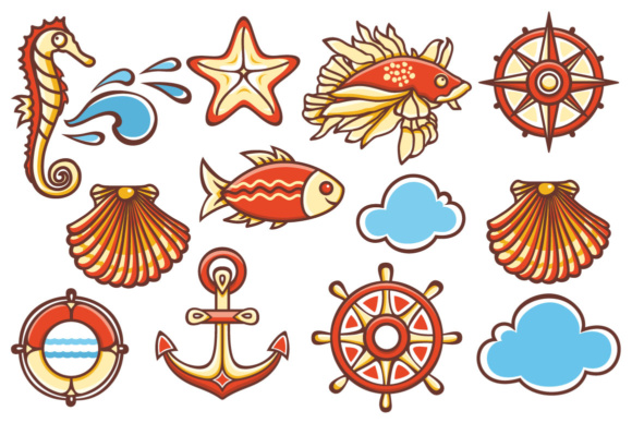 Print on Demand: Sea Set. Maritime Icon. Stickers Graphic Icons By zoyali