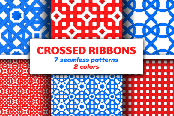 Seamless Patterns with Crossed Ribbons Graphic By Yurlick Image 1